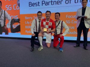 Steffan Dancy collecting Ericsson LG Global Partner of the Year award